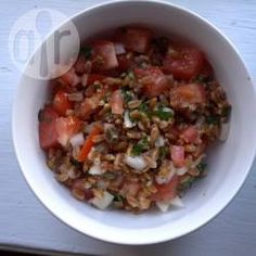Italian farro salad: This was the PERFECT light delicious dinner for a hot day I am so excited for my lunch tomorrow (leftovers!). #farro #tomatoes #basil #salad #vegetarian #AllrecipesAllstars #virtualreality