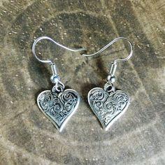 Heart Earrings - Tibetan Silver - Dangle - Boho - Chic - Bohemian by BohemianHeartery on Etsy