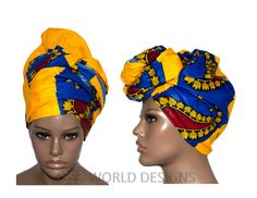 Regular size Yellow/Blue Trendy African Fabric head wrap scarf / African headwrap/ African hair accessory fabric/ African Head scarf/ HT120B by TessWorldDesigns on Etsy