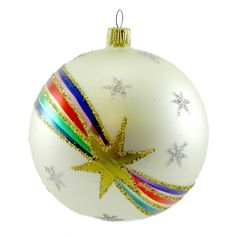 Larry Fraga 40'S Banner Ball Glass Ornament Height: 3.75 Inches Material: Blown Glass Type: Glass Ornament Brand: Larry Fraga Item Number: Larry Fraga 2020 WHITE Catalog ID: 18875 New. Made In Germany