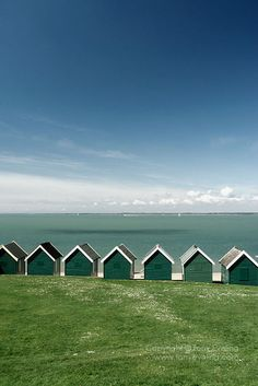 Beach huts on the seafront at Cowes, isle of wight, hampshire,england,uk