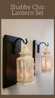 Antique White Shabby Lantern Pair (2), Farmhouse decor, kitchen decor, shabby chic decor, lantern candle, wrought iron hook, stained pine, living room wall decor, rustic decor, home decor #ad