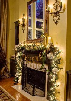 2013 Christmas Fireplace decor, Christmas candles, Christmas LED green decor, Christmas Fireplace Decor Ideas #Christmas #Fireplace #decor www.loveitsomuch.com