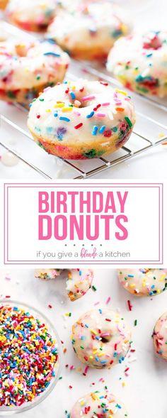 Birthday Donuts | Dessert Recipes for Kids | www.ifyougiveablondeakitchen.com