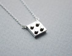 Luulla-Zizibejewelry-925 Sterling Silver Lego Block necklace - geometric-$38.00