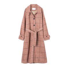 K-pop Fashion Knee Length Plaid Woolen Coat Pop Fashion, Coats For Women, Wool Blend, Duster Coat, Raincoat, That Look, Plaid, Female, Sleeves