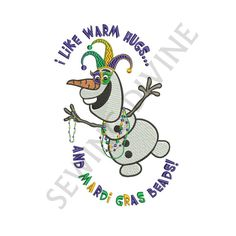 OLAF MARDI GRAS Embroidery Design 4x4 5x7 6x10 Instant Download I Like Warm Hugs and Mardi Gras Beads