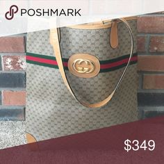 "Gucci tote Excellent used condition this is a truly beautiful bag one of the nicest totes I have ever owned. Beautiful tan leather trim on dark leather signature monogram Gucci leather with gold hardware the interior is in absolutely perfect condition, the exterior shows signs of wear around the bottom edges and handles. 16"" x 15"" PX1106 Gucci Bags Totes"