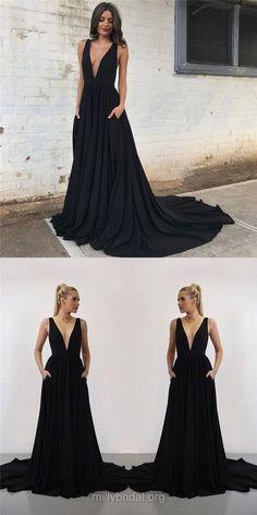 Black Prom Dresses, Long Prom Dresses, 2018 Prom Dresses, Princess Prom Dresses V-neck, Silk-like Satin Prom Dresses Modest #blackdress