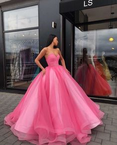 Pink Tulle Ball Gown Prom Dresses, Sweetheart neck Tulle Quinceanera Dresses, Sweet 16 Dress from fancydress Cute Prom Dresses, Sweet 16 Dresses, Sweet Dress, Elegant Dresses, Pretty Dresses, Pink Dresses, Homecoming Dresses, Sexy Dresses, Romantic Dresses