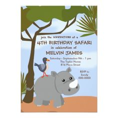 #party - #Rhino Safari Invitation