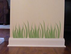 Grass Vinyl Wall Decal Children decor Wall Border stickers woodland meadow weeds. $20.00, via Etsy. (for the dishwasher in the new apt!)