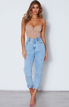 The Turning Heads Diamante Bodysuit Nude. Head online and shop this season's latest styles at White Fox. Body Suit Outfits, Heels Outfits, Jean Outfits, Girl Outfits, Fashion Outfits, Fashion Poses, Cute Casual Outfits, Short Outfits, Summer Outfits
