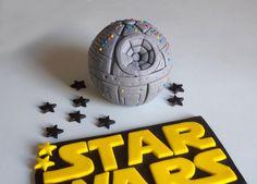 Death Star StarWars Fondant Cake Topper , StarWars Cake Decor by allsugarheart on Etsy