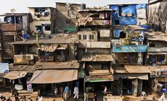 Dharavi slums (India) shanty town bottom of page decollage on top