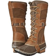 SOREL Conquest Carly (British Tan/Flax) Women's Cold Weather Boots (8.670 RUB) ❤ liked on Polyvore featuring shoes, boots, brown, brown low heel boots, knee high lace up boots, sorel boots, laced boots and strap boots