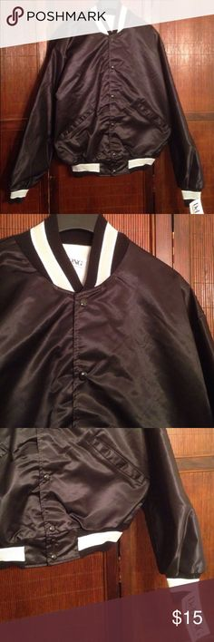 "Vintage NWOT Baseball Jacket Vintage nylon baseball jacket in perfect condition/new without tags! Two front pockets + snaps. Black jacket with gray + white on collar and cuffs. Labeled medium fits like small. length: 27"" sleeve: 26"" Vintage Jackets & Coats Bomber & Varsity"