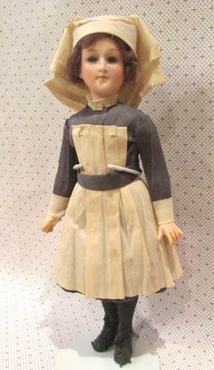 """RARE WWI Nurse Doll All-Original Only 9"""" tall! from aubonmarche1800 on Ruby Lane"""