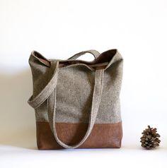 Brown Tote Bag, Herringbone Bag, Large Tote Bag, Fall Bag, Brown Shoulder Bag, Beige Bag, Bohemian Bag, Brown Tote Handbag, Tweed Tote bag