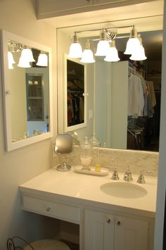 We used leftover materials from our bathroom remodel and the fixtures from our…
