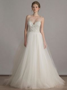 Liancarlo hand beaded embroidered bodice with illusion neckline and back on tulle ball gown wedding dress from Spring 2016