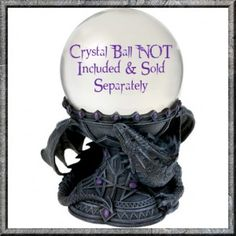 Crystal Ball Holder Dragon Beauty by Anne Stokes. This Anne Stokes collectable is based on the Dragon Beauty artwork and features a dragon curled around protecting a the crystal ball on the decorative Gothic stand. The Crystal Ball stand fits an 11cm crystal ball.