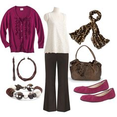 Chocolate Raspberry Casual Work Outfit