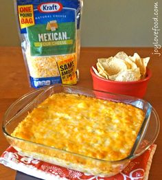 Hot Cheesy Mexican Corn Dip - a delicious, hot dip with corn, green chiles and lots of melted cheese, perfect for sharing with family and friends on a cozy fall afternoon. #NaturallyCheesy #ad