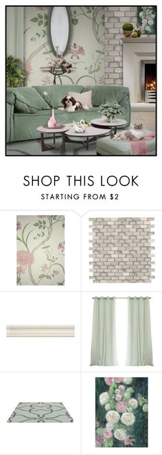 """""""Green and Blush"""" by signaturenails-dstanley ❤ liked on Polyvore featuring interior, interiors, interior design, home, home decor, interior decorating, SANDERSON, WALL, GAS Jeans and Miró"""
