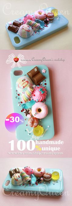 baby blue case , Ice cream with Donuts , miniature fake food Cute Phone Cases, Diy Phone Case, Iphone Cases, Fimo Clay, Polymer Clay Charms, Biscuit, Fondant, Decoden Phone Case, Ipad Accessories