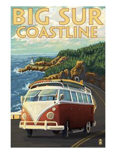 Big Sur, California Vintage Travel Poster
