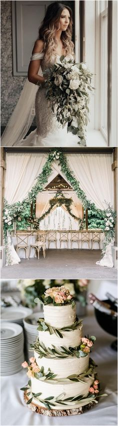 rustic greenery wedding color and decor ideas - bridal shower & wedding inspo - Wedding Themes, Wedding Designs, Wedding Colors, Wedding Decorations, Wedding Dresses, Wedding Bells, Wedding Ceremony, Our Wedding, Dream Wedding