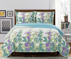 Deluxe Freya oversized coverlet setThis beautiful quilt features an ingenious and natural style of floral designs in lavender and shades of greenBed Cover Quilt 2 Pieces Twin Set >>> Check out this great product.