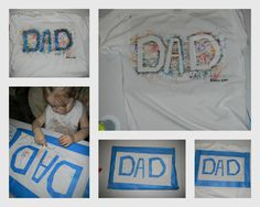 """""""Dad since 2011"""" t-shirt we made for Father's day. I used white shirt, painters tape, Crayola Fabric markers and a happy toddler. Inspired by another pin :)"""