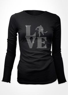 Love hockey long sleeve -this would be cool,as a screen print, I'm not much of a rhinestone fan