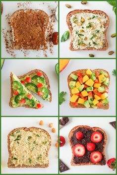 6 Totally Terrific Toast Recipes - hippie cinnamon toast, tofu ricotta with crushed pistachios (or almonds), spicy avocado, poblano & tomato (my adapted version), mango/avo/tomato/basil bruschetta, mediterranean mashed chickpea, chocolate ganache with strawberries; oneingredientchef.com