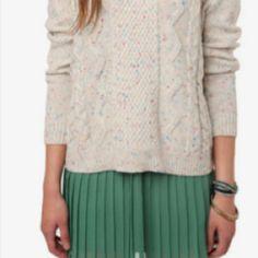 Chunky sweater over flowy skirt