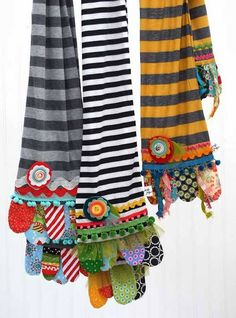 How much fun are these scrappy scarves! The main part of the scarf is made using soft knit fabric and the ends are embellished with all those favorite fabr