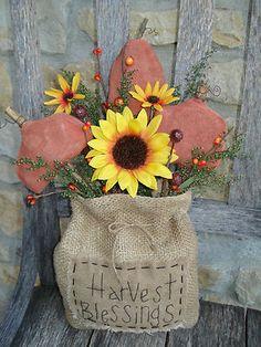 primitive ★ fall ★ pumpkin ★ SUNFLOWERS ★ shelf sitter ★ sweet annie (: