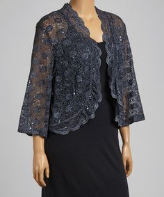 63c43ade14a Loving this R M Richards Charcoal Sheer Lace Sequin Open Cardigan - Plus on   zulily!  zulilyfinds