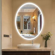Vanity Art 24 Inch Oval LED Lighted Illuminated Frameless Bathroom Vanity Wall Mirror with Touch Sensor - Clear inches high x 24 inches wide x 1 Lighted Vanity Mirror, Led Mirror, Oval Mirror, Wall Mounted Mirror, Dresser With Mirror, Mirror With Lights, Vanity Lighting, Oval Bathroom Mirror, Frameless Mirror