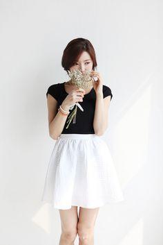 Korean fashion - black top and white a-line skirt
