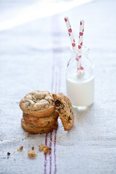 A Handful Of Chocolate Chip Cookies & A Glass Of Milk
