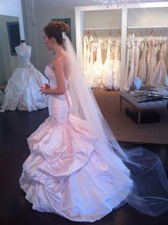 She looks stunning...Ines di santo blush mermaid wedding gown