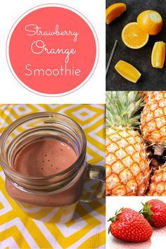Sunrise smoothie: strawberries, oranges, pineapple Greek yogurt, orange juice, and ice. Delicious strawberry orange smoothie. Filling but lower calorie