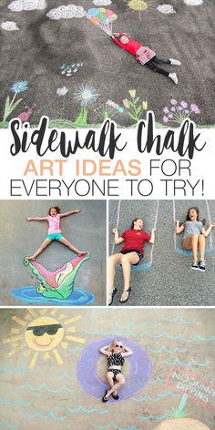 Check out all the amazing sidewalk chalk art ideas we found, and get started making your outdoor world a prettier place. Sidewalk Chalk Recipe, Homemade Sidewalk Chalk, Sidewalk Chalk Paint, Sidewalk Art, Drawing For Kids, Art For Kids, Crafts For Kids, Diy Crafts, Drawing Ideas