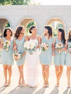 Baby Blue Short Chiffon V-neck Bridesmaid Dresses http://21weddingdresses.storenvy.com/products/16819794-baby-blue-short-chiffon-v-neck-bridesmaid-dresses