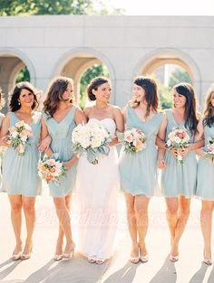 Baby Blue Short Chiffon V-neck Bridesmaid Dresses http://21weddingdresses.storenvy.com/products/16819794-baby-blue-short-chiffon-v-neck-bridesmaid-dresses