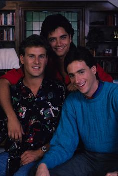 Full House- 'Our Very First Show' - Pilot - Season One, 9/22/87, Bob Saget (right) played widower Danny Tanner, the father of three girls, Michelle, D.J. and Stephanie, who had his friend, Joey Gladstone (Dave Coulier, left) and the girls' Uncle Jesse (John Stamos) move in to help raise them.
