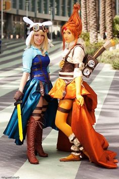Steampunk'd Fionna and Flame Princess (Adventure TIme) cosplay.